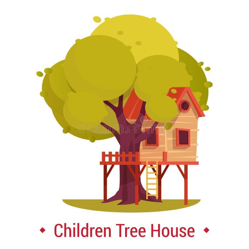 结构或大厦在树孩子的 剧场或树上小屋 库存例证
