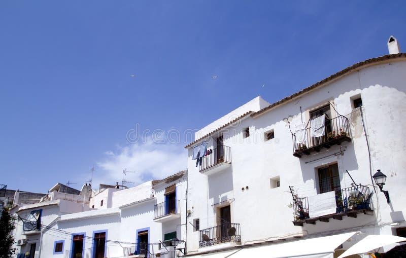 结构拜雷阿尔斯ibiza海岛白色 免版税库存照片