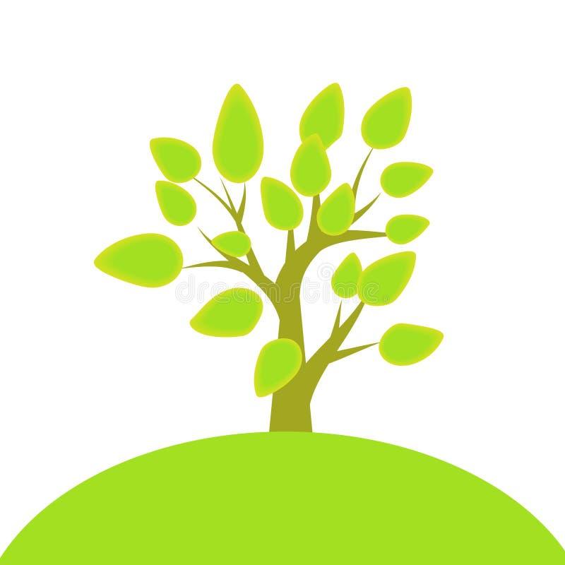 结构树和小山 向量例证