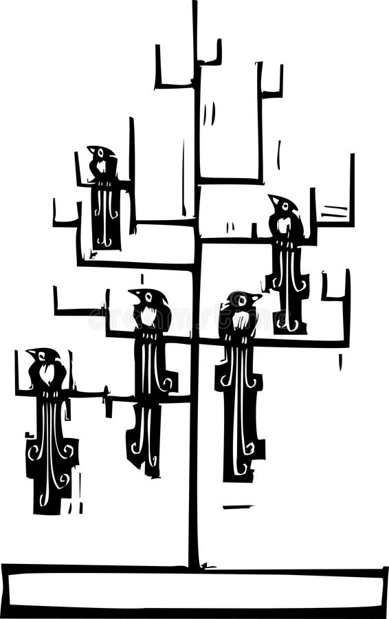 结构树和鸟 库存例证