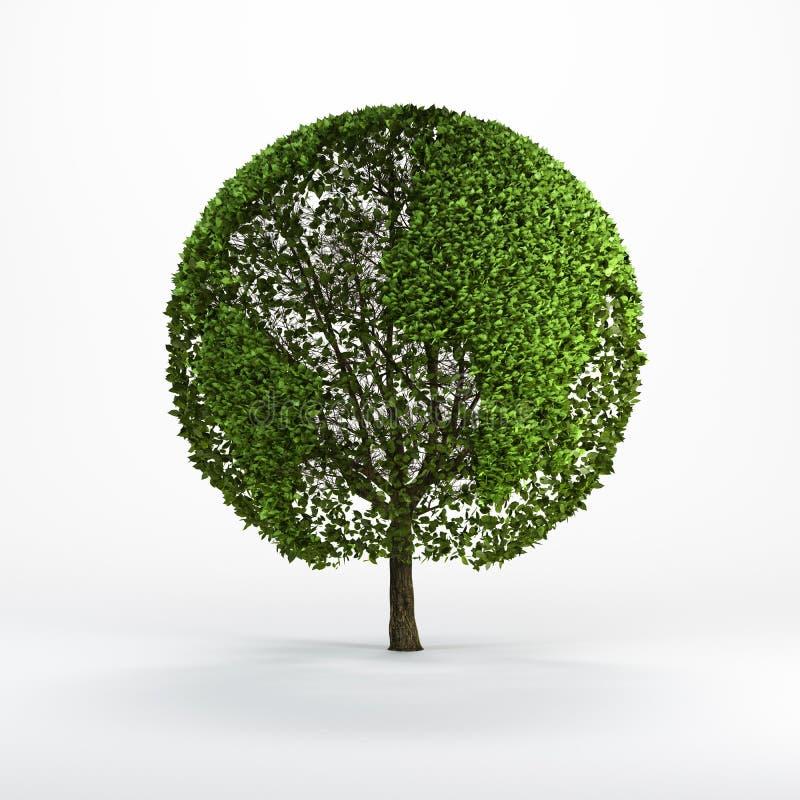 结构树塑造了象世界地图 向量例证