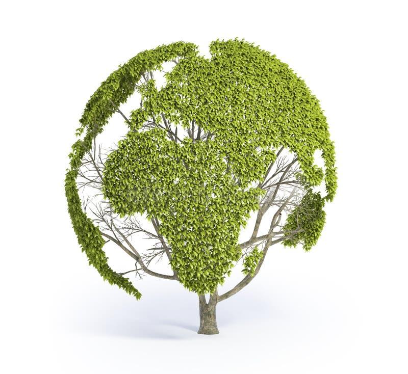 结构树形状的世界地图 库存例证