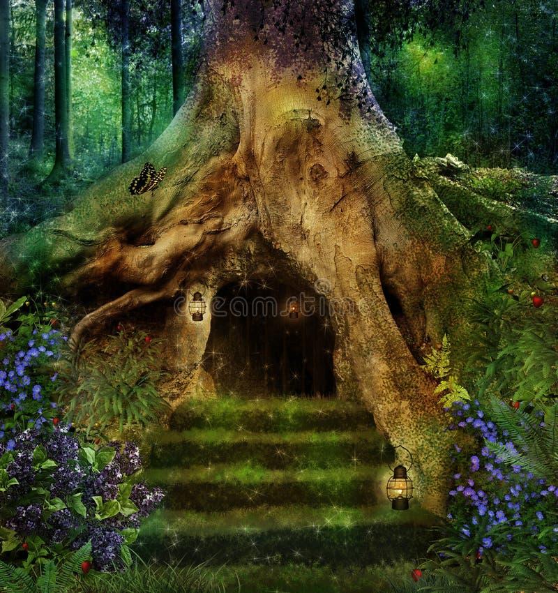 结构树的房子 免版税库存照片