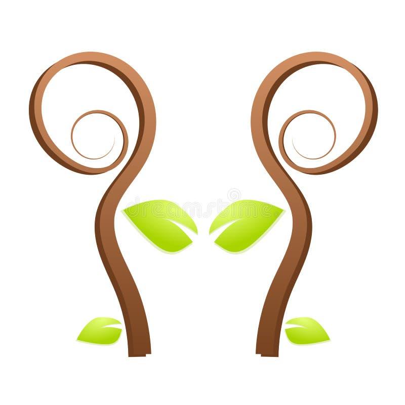 结构树绿色本质徽标 库存例证