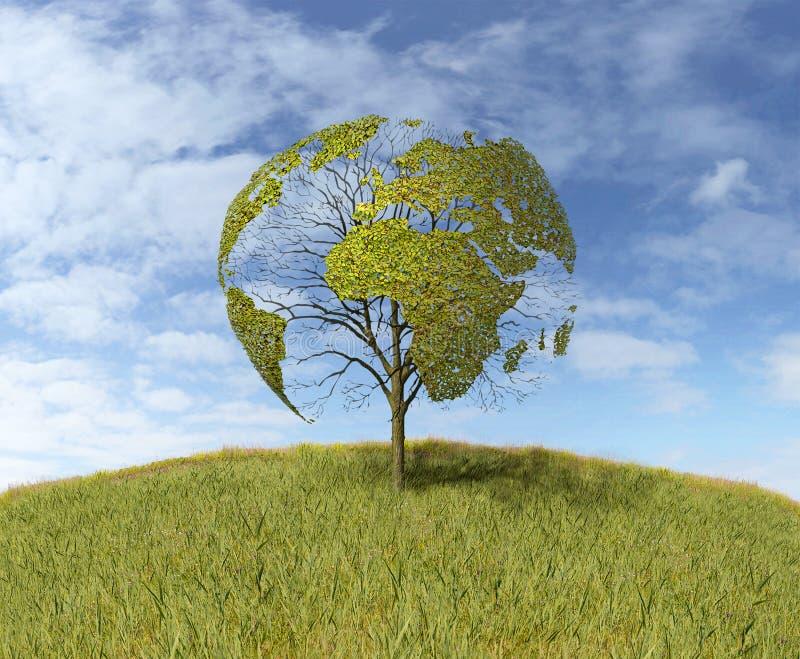 结构树被塑造象世界地图 向量例证