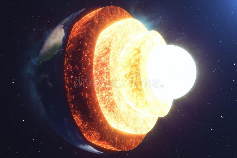 结构核心地球 地球的结构层数 地球` s外壳地球横断面的结构空间的 向量例证