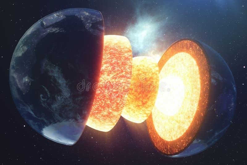 结构核心地球 地球的结构层数 地球` s外壳地球横断面的结构空间的 库存例证