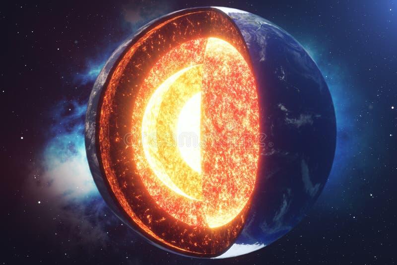 结构核心地球 地球的结构层数 地球` s外壳地球横断面的结构空间的 皇族释放例证
