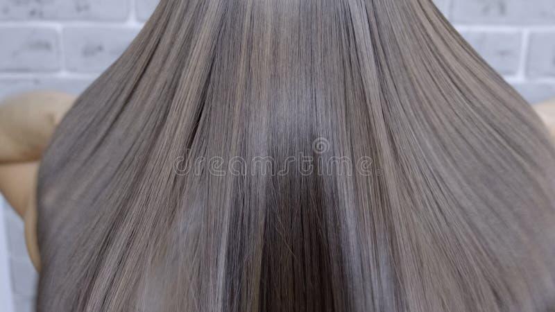 结果在调直在一个女孩的一发廊的分片和头发以后有棕色头发的 E 免版税库存照片