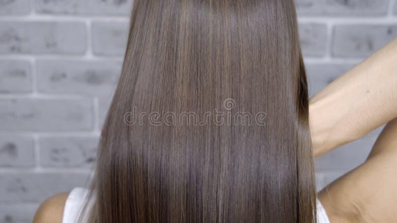 结果在调直在一个女孩的一发廊的分片和头发以后有棕色头发的 E 免版税图库摄影