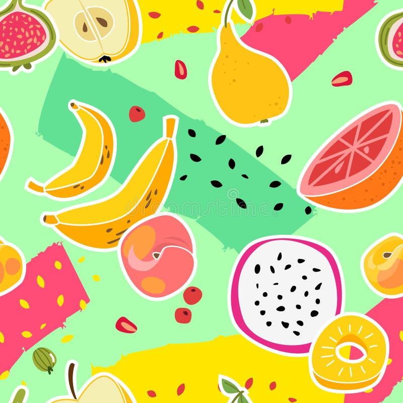果子印刷品 结果实无缝的样式新鲜食品自然维生素健康吃五颜六色的夏天纹理时髦动画片 皇族释放例证