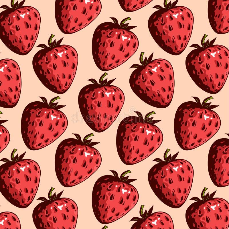 结果实样式用在桃红色背景的红色新鲜的草莓 向量例证