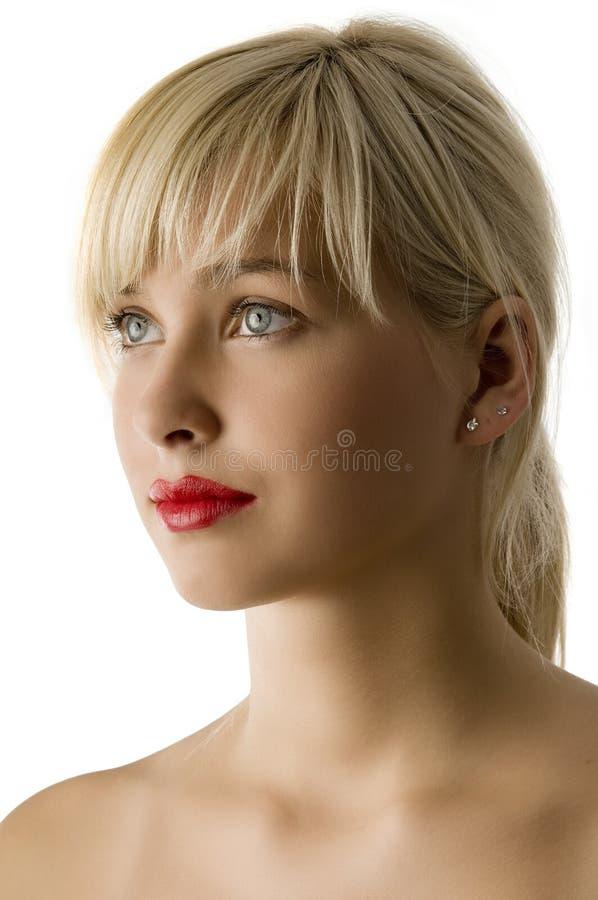 结算注视红色的嘴唇 免版税库存照片