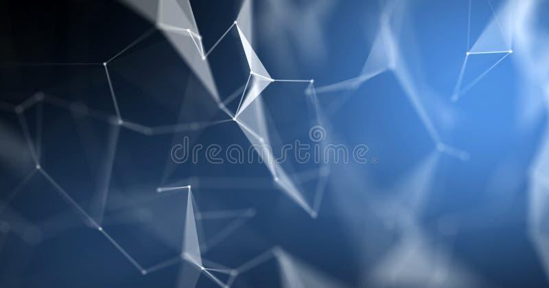 结节摘要背景,3D光技术几何wireframe 与线和小点连接点头的蓝色多角形结构 向量例证