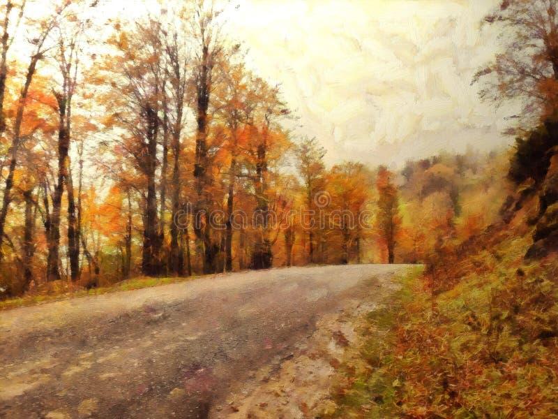 绘一条道路在森林里在秋天 皇族释放例证