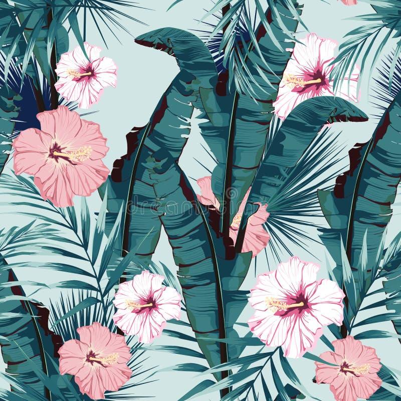 绘与棕榈香蕉叶子和植物的热带夏天无缝的传染媒介样式 花卉密林木槿天堂花 库存例证