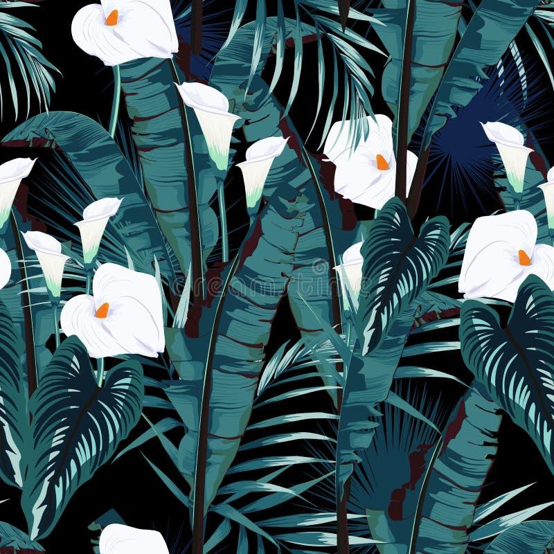 绘与棕榈香蕉叶子和植物的热带夏天无缝的传染媒介样式 花卉密林水芋百合天堂花 向量例证