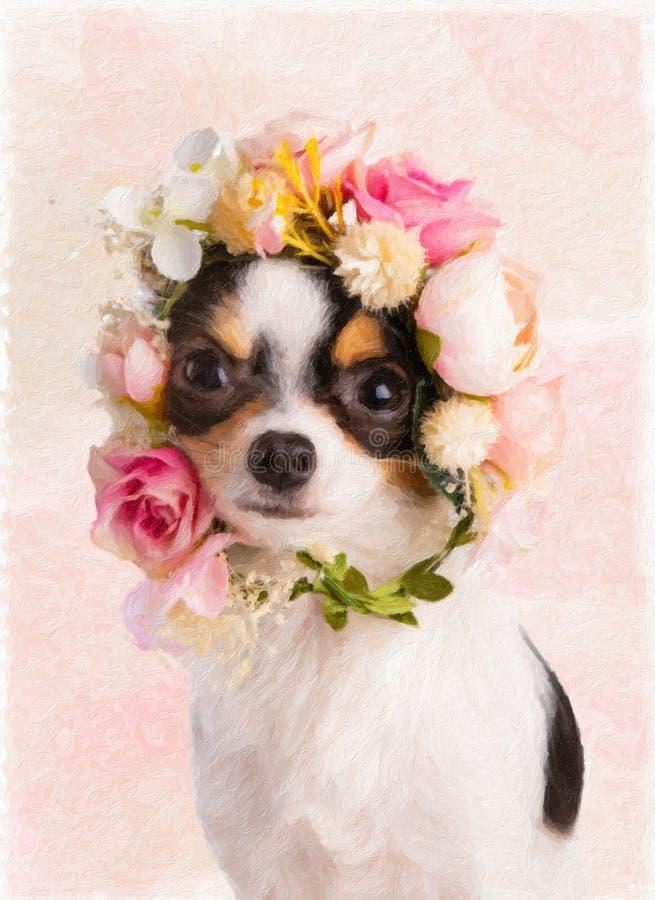 绘与白色和桃红色花花圈的奇瓦瓦狗  免版税库存图片