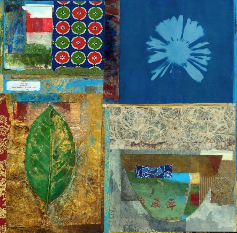绘亚洲碗题材的抽象拼贴画 免版税库存图片