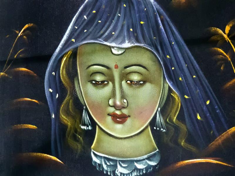 绘传统印度妇女 库存图片