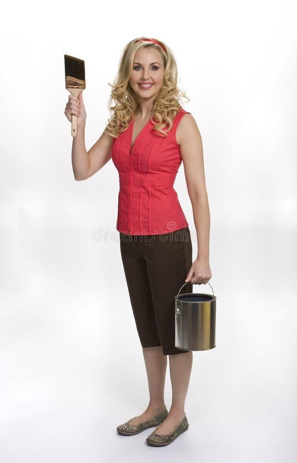 绘准备好对妇女 免版税库存图片