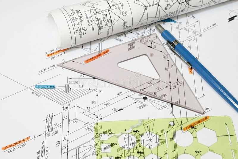 绘制仪器管道系统 免版税库存图片