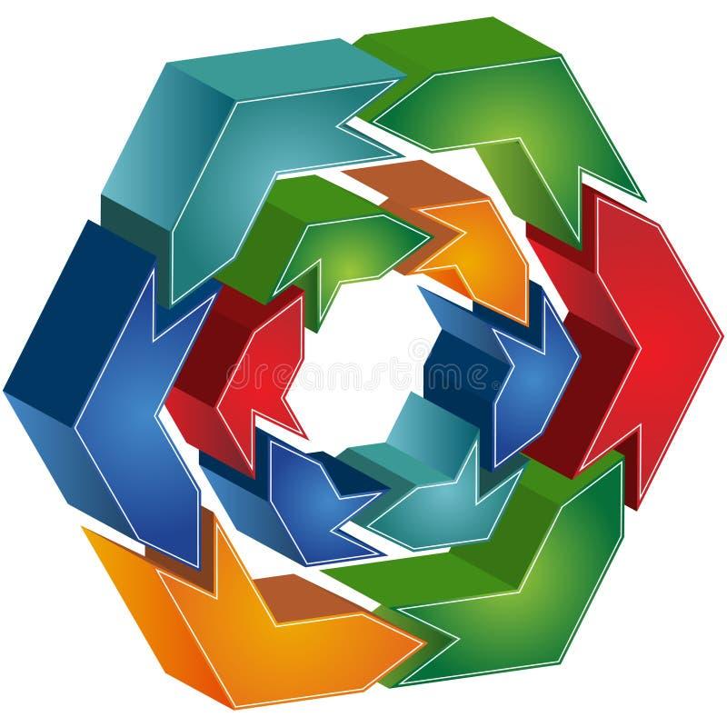 绘制六角形进程 库存例证