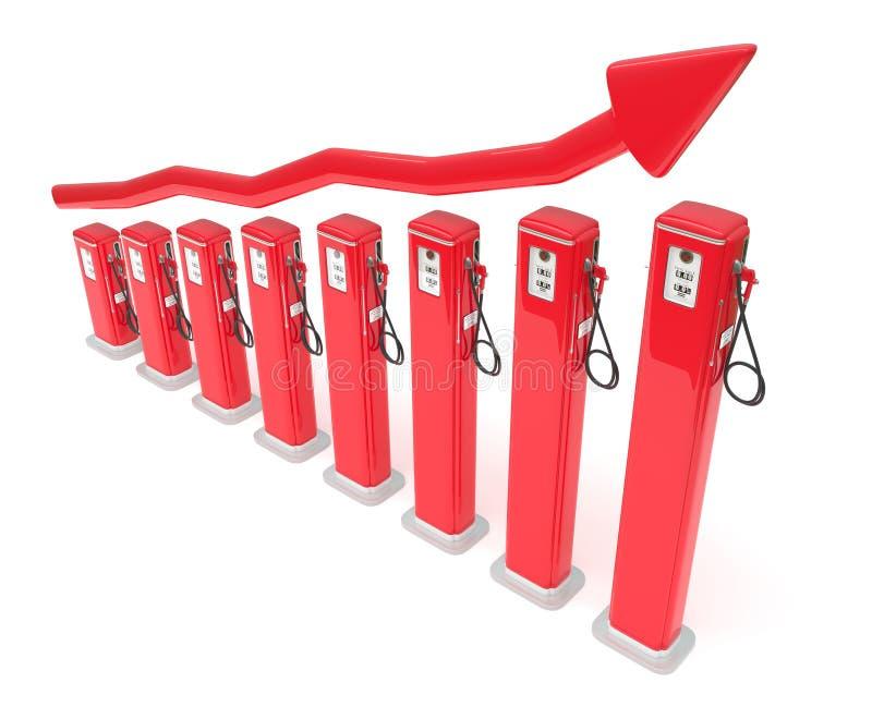 绘制燃料市场红色的加油泵图表 皇族释放例证
