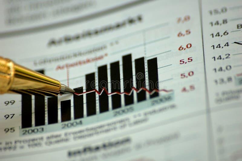 绘制财务金黄笔报表陈列 免版税库存照片