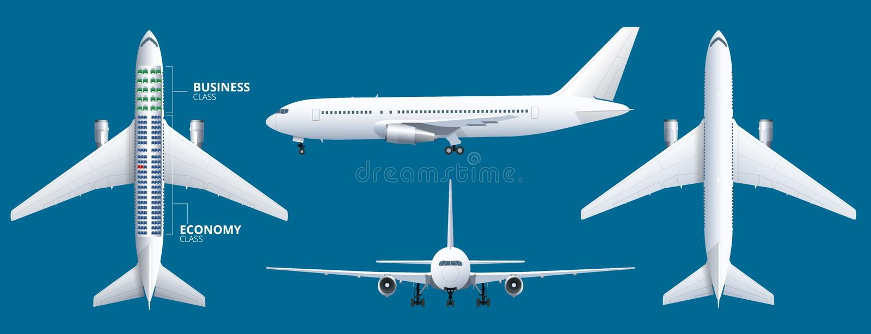绘制飞机位子,计划图表,航空器乘客 航空器供以座位计划顶视图 事务和经济舱飞机 库存例证