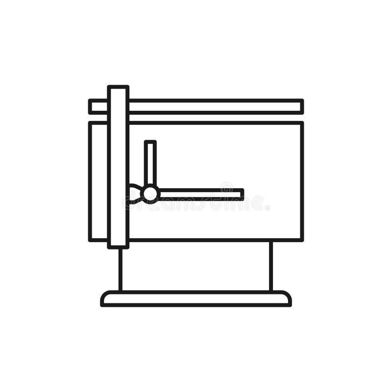绘图机桌的黑&白色传染媒介例证与 向量例证