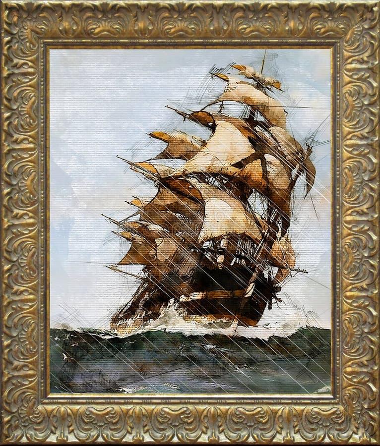 绘在风暴期间的中世纪船航行海上,绘在一个古色古香的金黄框架 库存图片