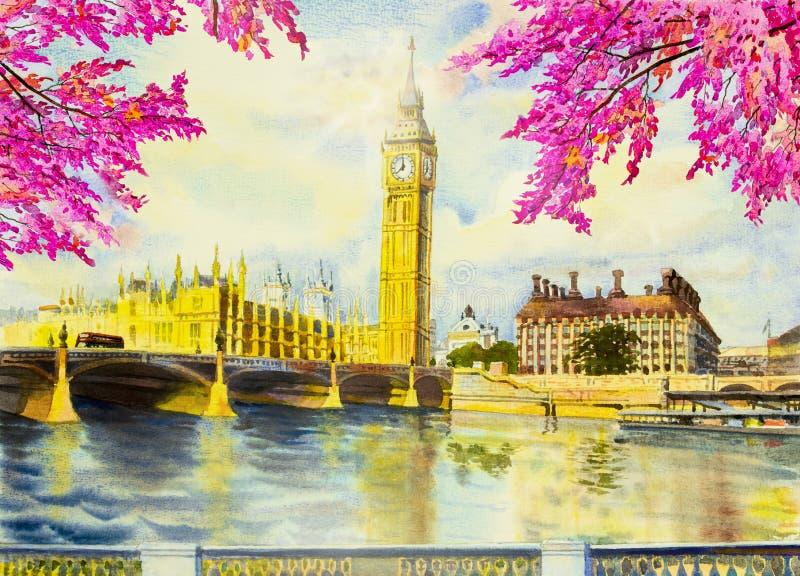 绘大本钟尖沙咀钟楼和泰晤士河的水彩 向量例证