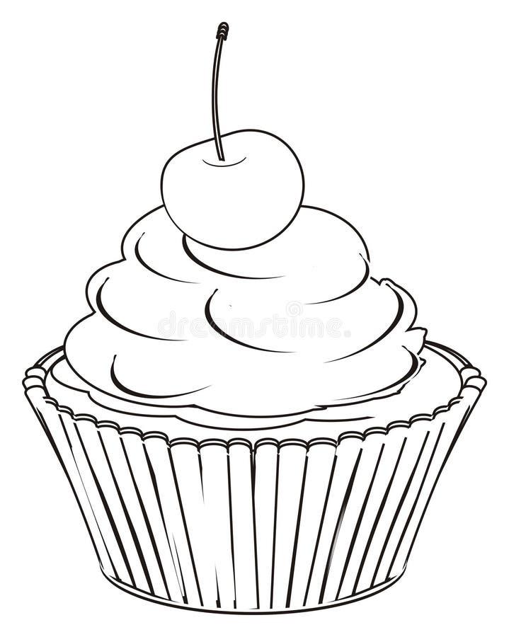 绘杯形蛋糕用莓果 皇族释放例证
