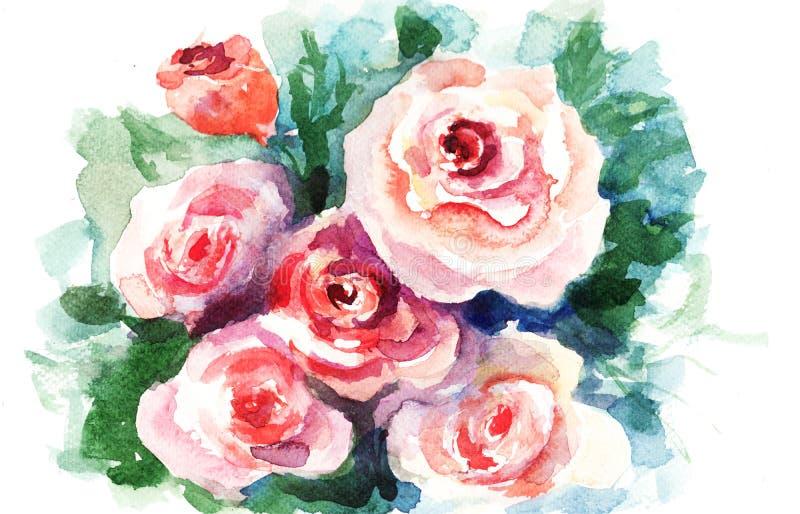 绘玫瑰水彩的花 皇族释放例证