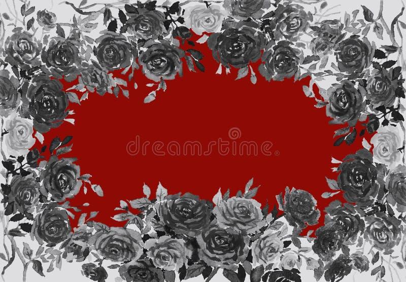 绘玫瑰花的黑颜色水彩 皇族释放例证