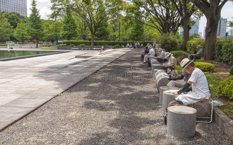 绘画公园人东京 免版税库存图片