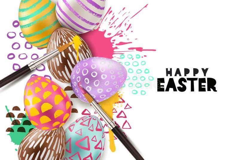 绘画复活节彩蛋传染媒介例证 3d在水彩的装饰鸡蛋飞溅背景 艺术和工艺概念 向量例证