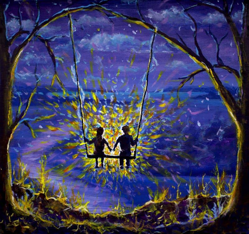 绘画恋人男孩和女孩在摇摆乘坐 爱,夜风景,青紫罗兰色晚上,在树的光光芒  皇族释放例证
