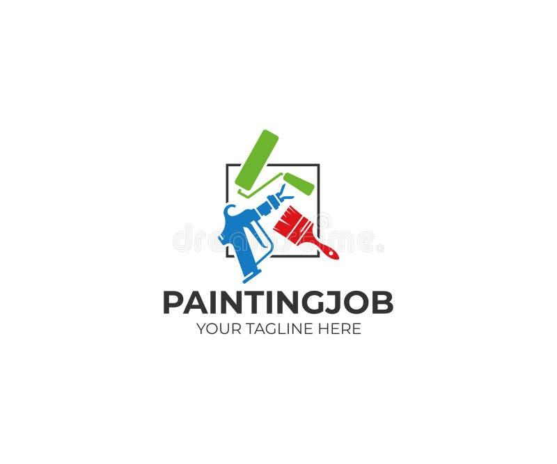 绘画用工具加工商标模板 路辗刷子和空气不流通的喷枪传染媒介设计 库存例证