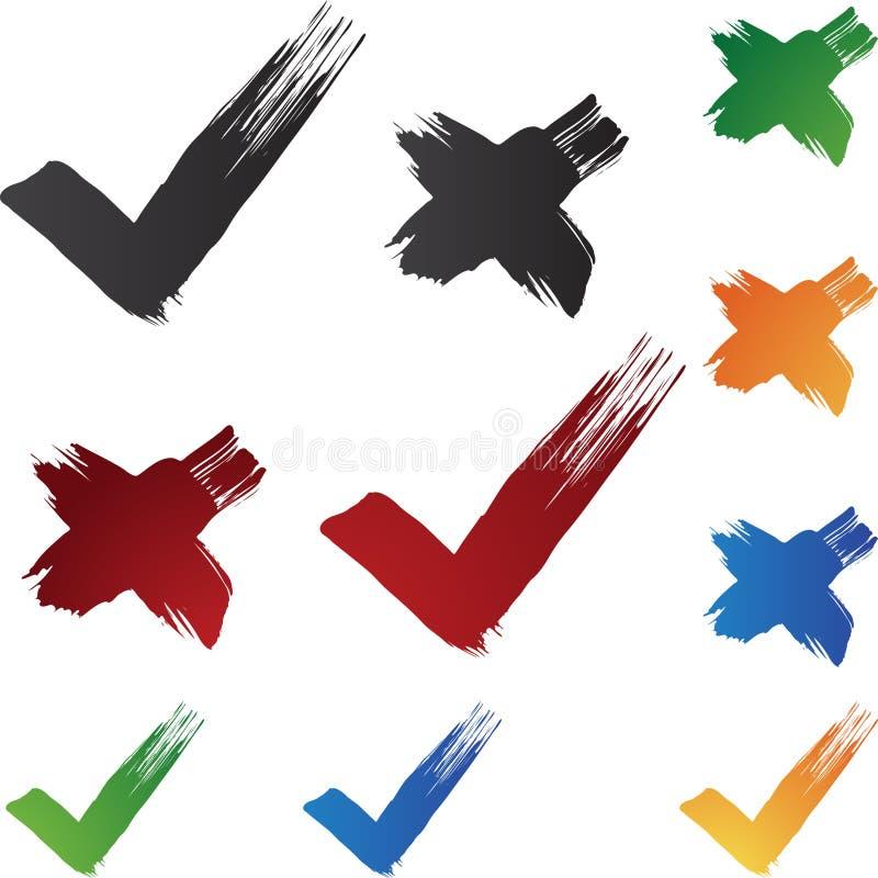 绘画的技巧复选标记 库存例证