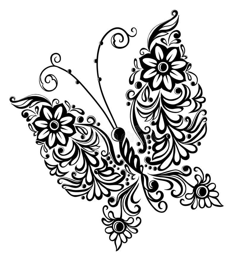 绘画蝴蝶,打旋抽象要素设计 皇族释放例证