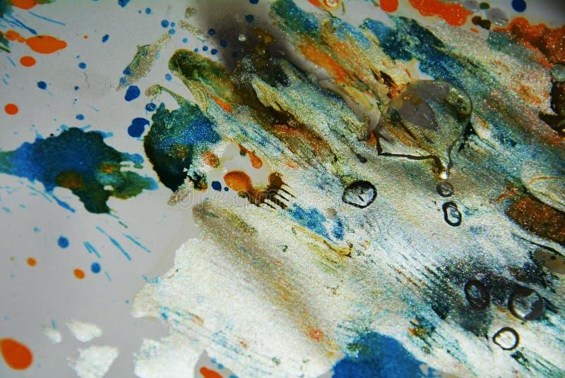 绘画银色水彩橙色蓝色蜡生动的斑点,抽象创造性的背景 图库摄影