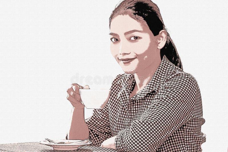 绘画-愉快的微笑的妇女被说明的照片  向量例证