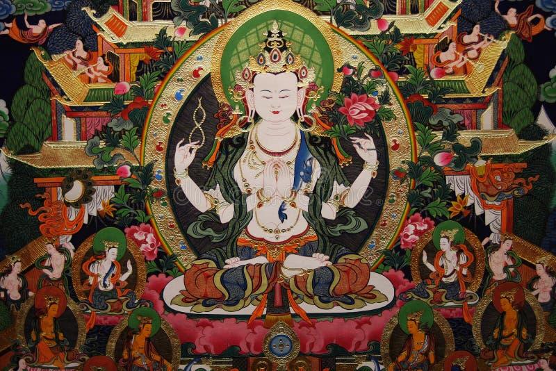 绘画thangka西藏 皇族释放例证