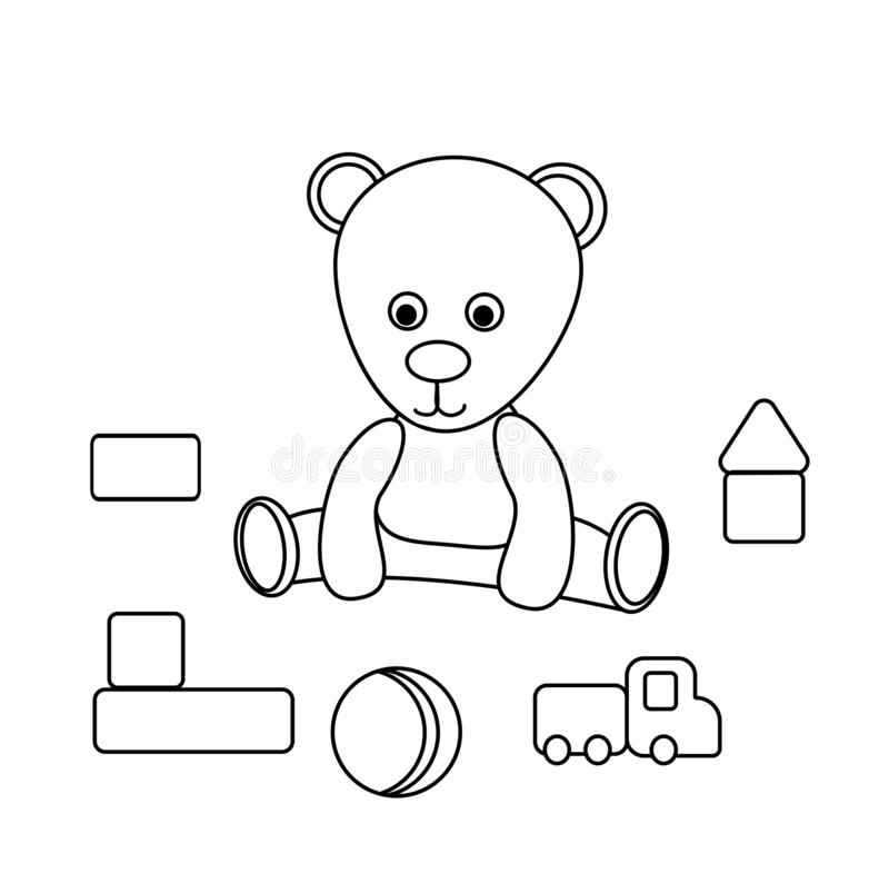 绘的儿童的玩具 玩具熊,球,立方体,汽车 一场比赛的传染媒介例证孩子的 逗人喜爱的彩图 库存例证