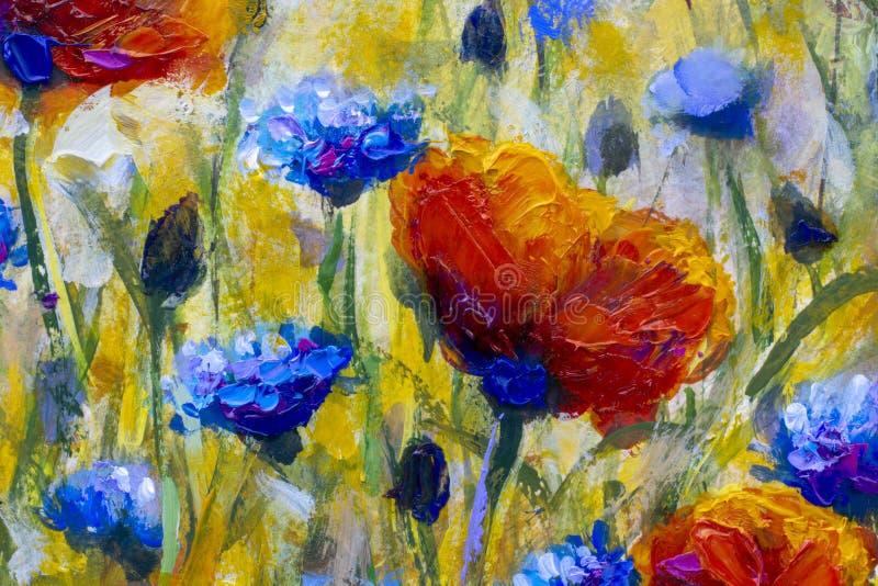 绘的花现代五颜六色的野花帆布抽象接近的油漆impasto油 库存例证
