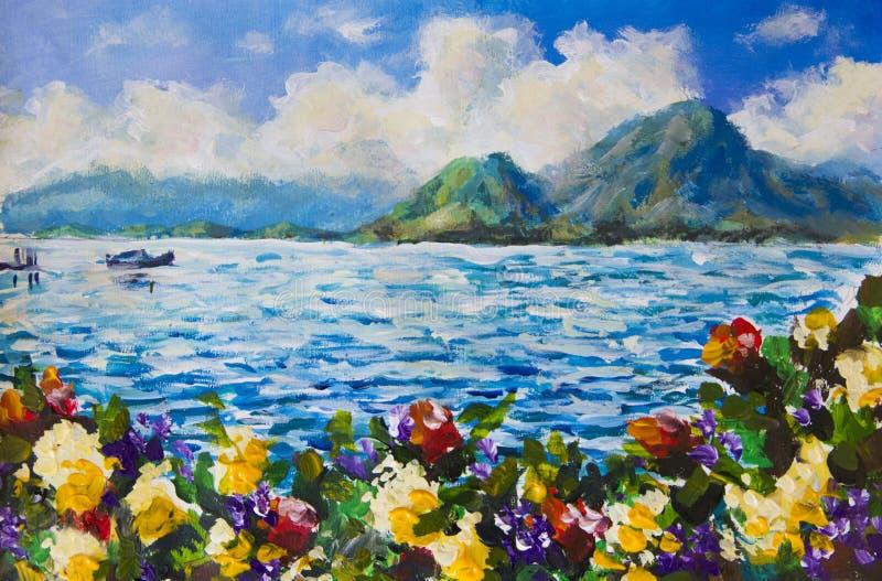 绘的蓝色海和天空,白色蓬松云彩,小船在海洋,山,挥动 红色和黄色花花草甸  海ar 向量例证
