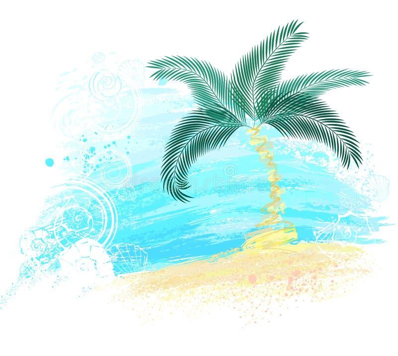 绘被绘的棕榈树 向量例证