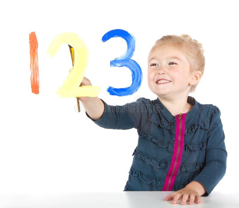 绘视窗的女孩小的编号 库存照片